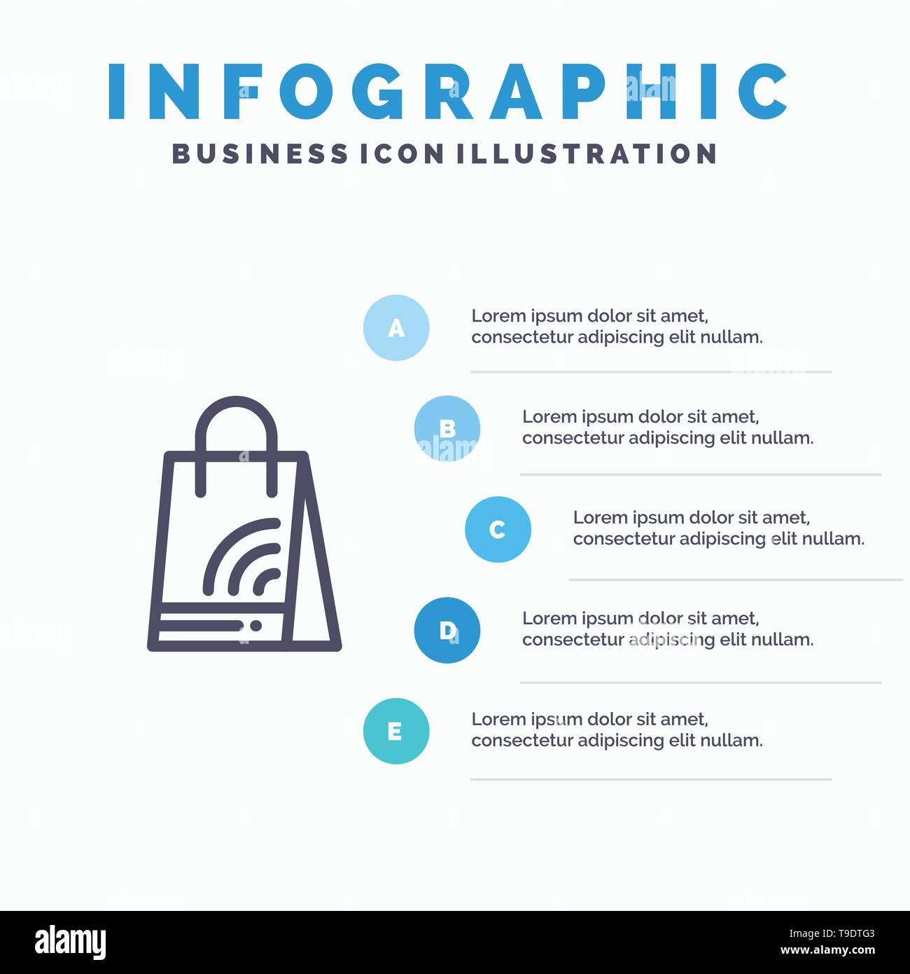 Bag, Handbag, Wifi, Shopping Line icon with 5 steps presentation infographics Background - Stock Image