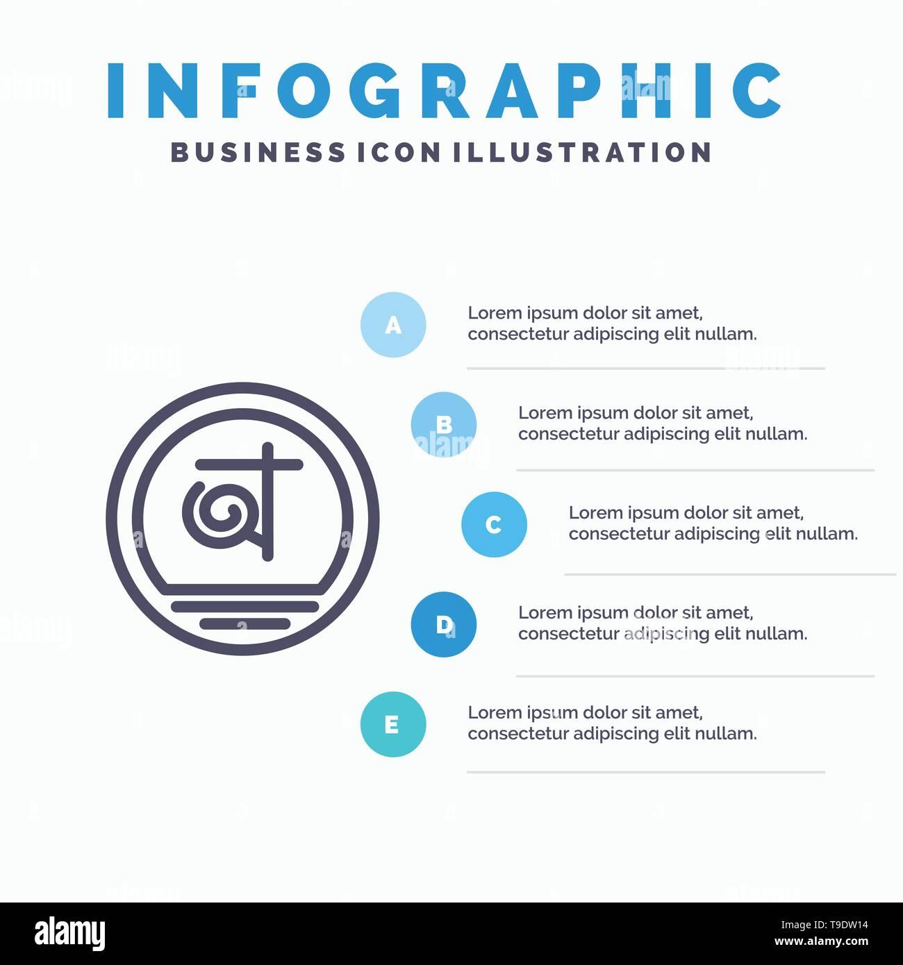Bangla, Bangladesh, Bangladeshi, Business Line icon with 5 steps presentation infographics Background - Stock Image