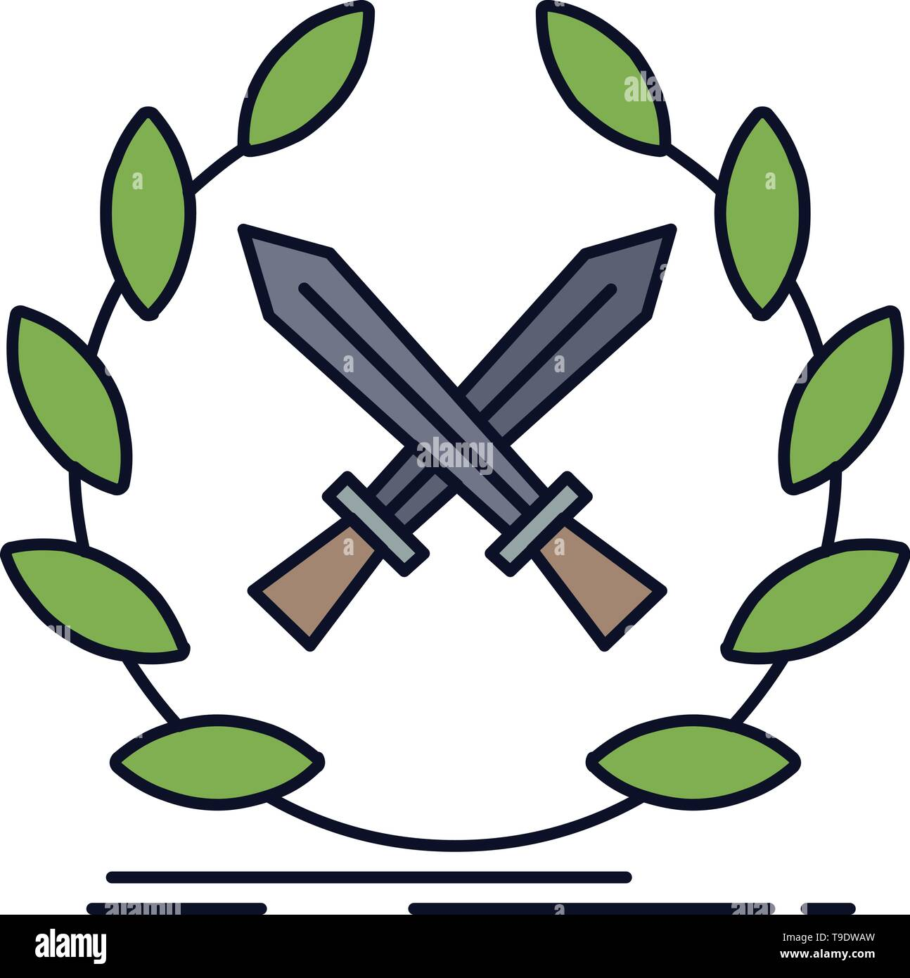 battle, emblem, game, label, swords Flat Color Icon Vector - Stock Vector