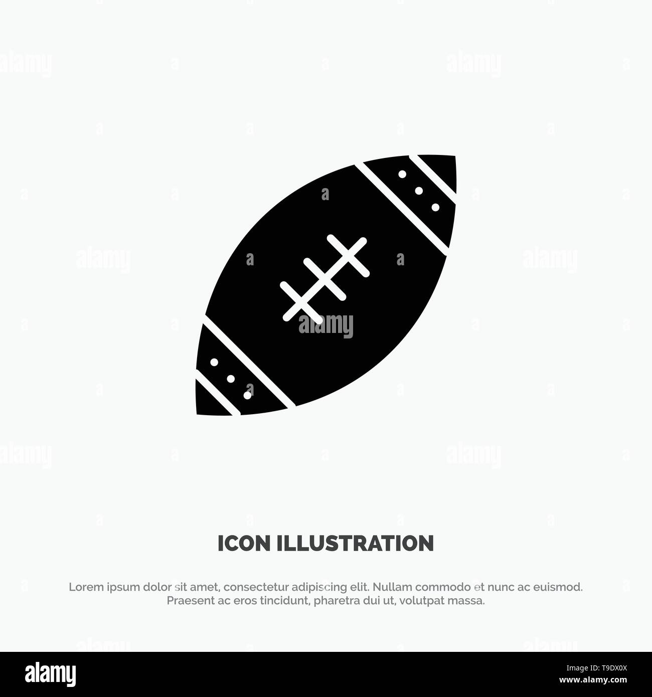 American, Ball, Football, Nfl, Rugby solid Glyph Icon vector - Stock Image