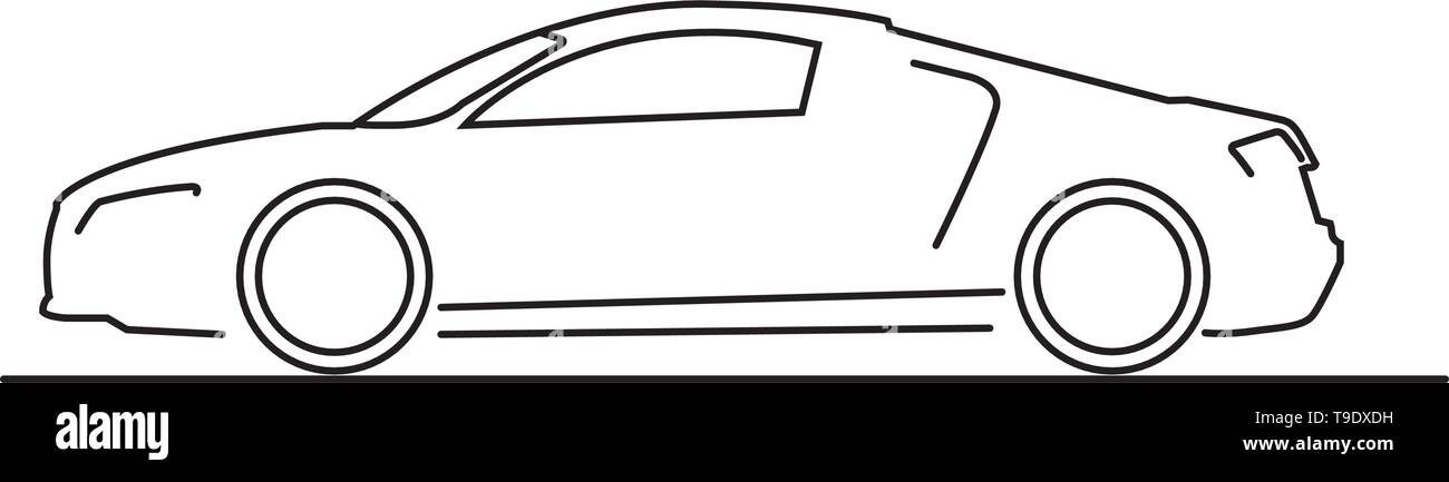 Car side view line drawing isolated on white background vector - Stock Image