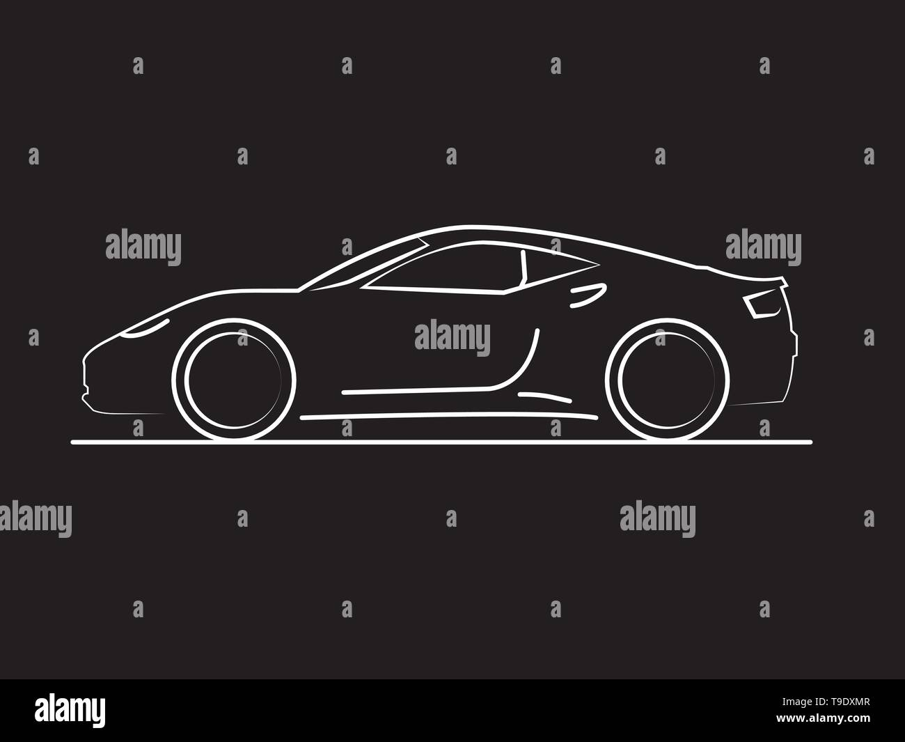 Car side view line drawing on black background in vector format. - Stock Image
