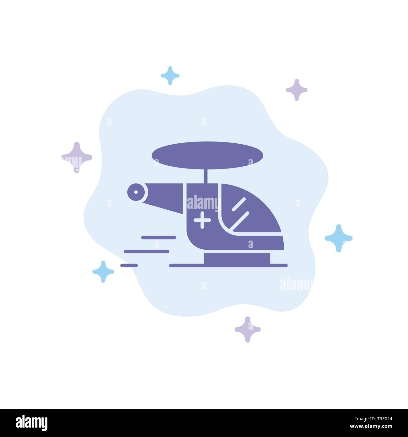 Helicopter, Chopper, Medical, Ambulance, Air Blue Icon on Abstract Cloud Background - Stock Image