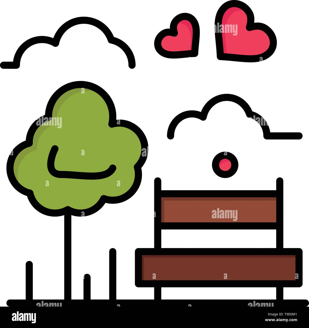 Park, Tree, Bench, Love, Outdoor  Flat Color Icon. Vector icon banner Template - Stock Image