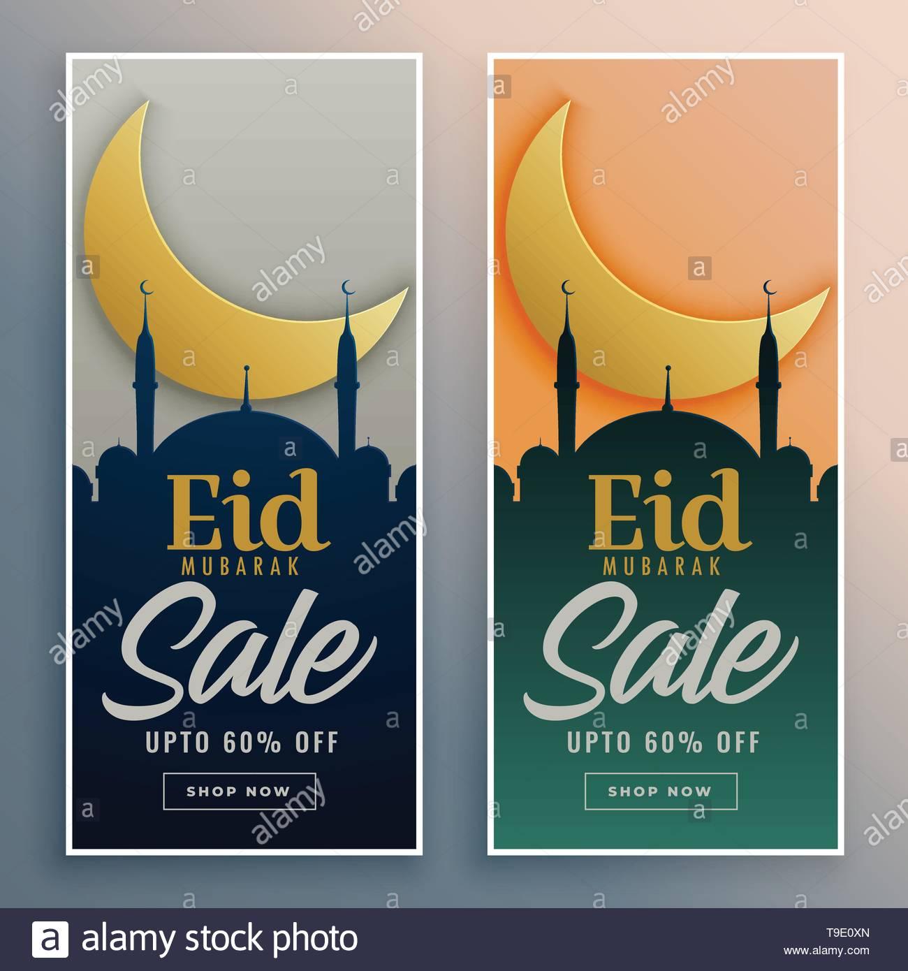 2d4b8f030a eid mubarak islamic banners for sale promotion Stock Vector Art ...