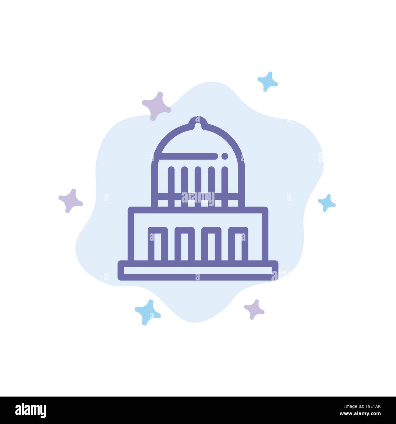Building, City, Landmark, Usa Blue Icon on Abstract Cloud Background - Stock Image