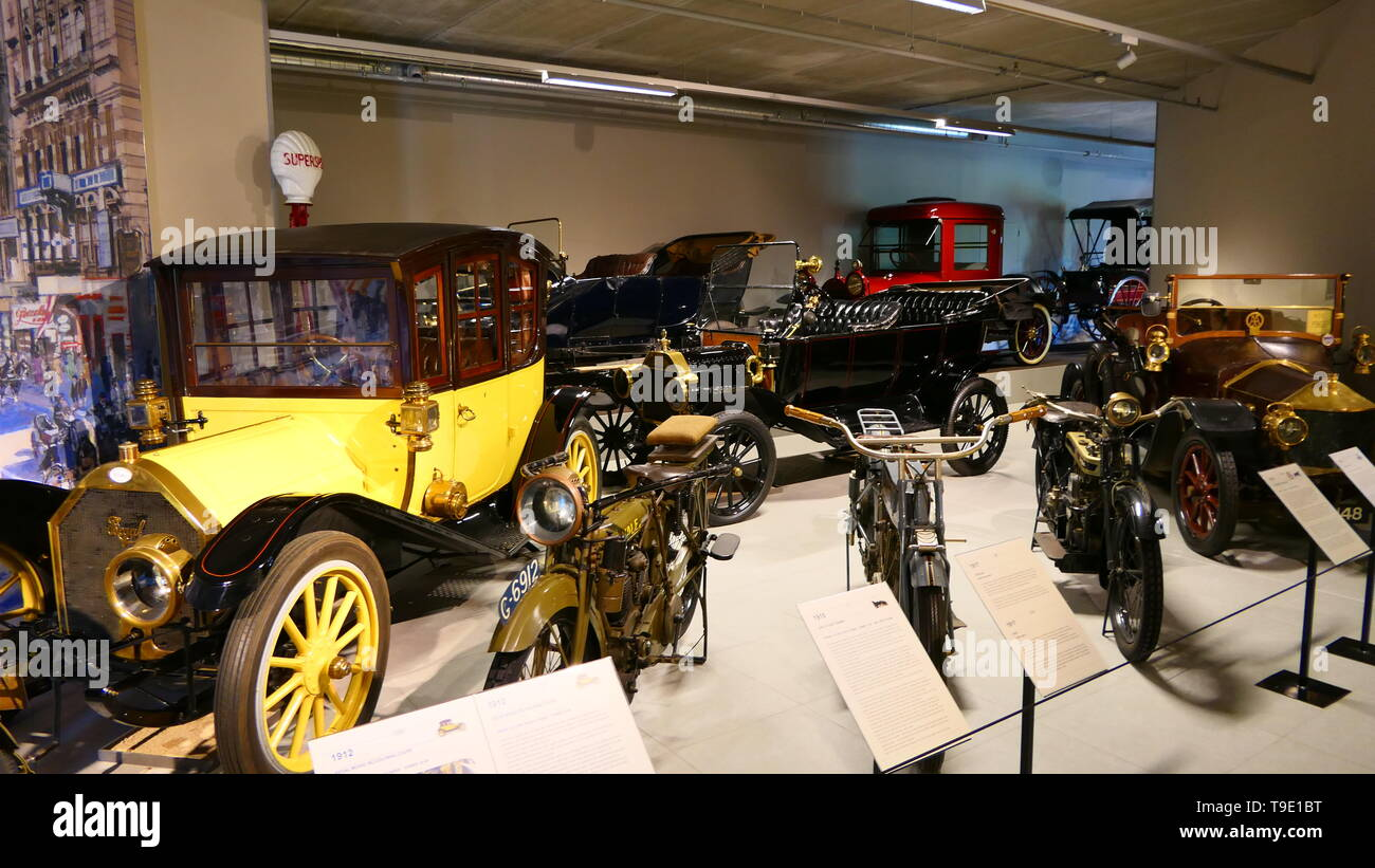 THE HAGUE, THE NETHERLANDS - APRIL 21, 2019: A collection of historic oldtimers, inside of the famous Louwman Museum Stock Photo