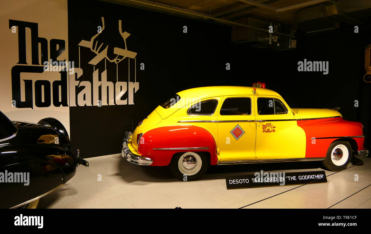 THE HAGUE, THE NETHERLANDS - APRIL 21, 2019: The historic Desoto Taxi from the Movie: The Godfather, inside of the famous Louwman Museum Stock Photo