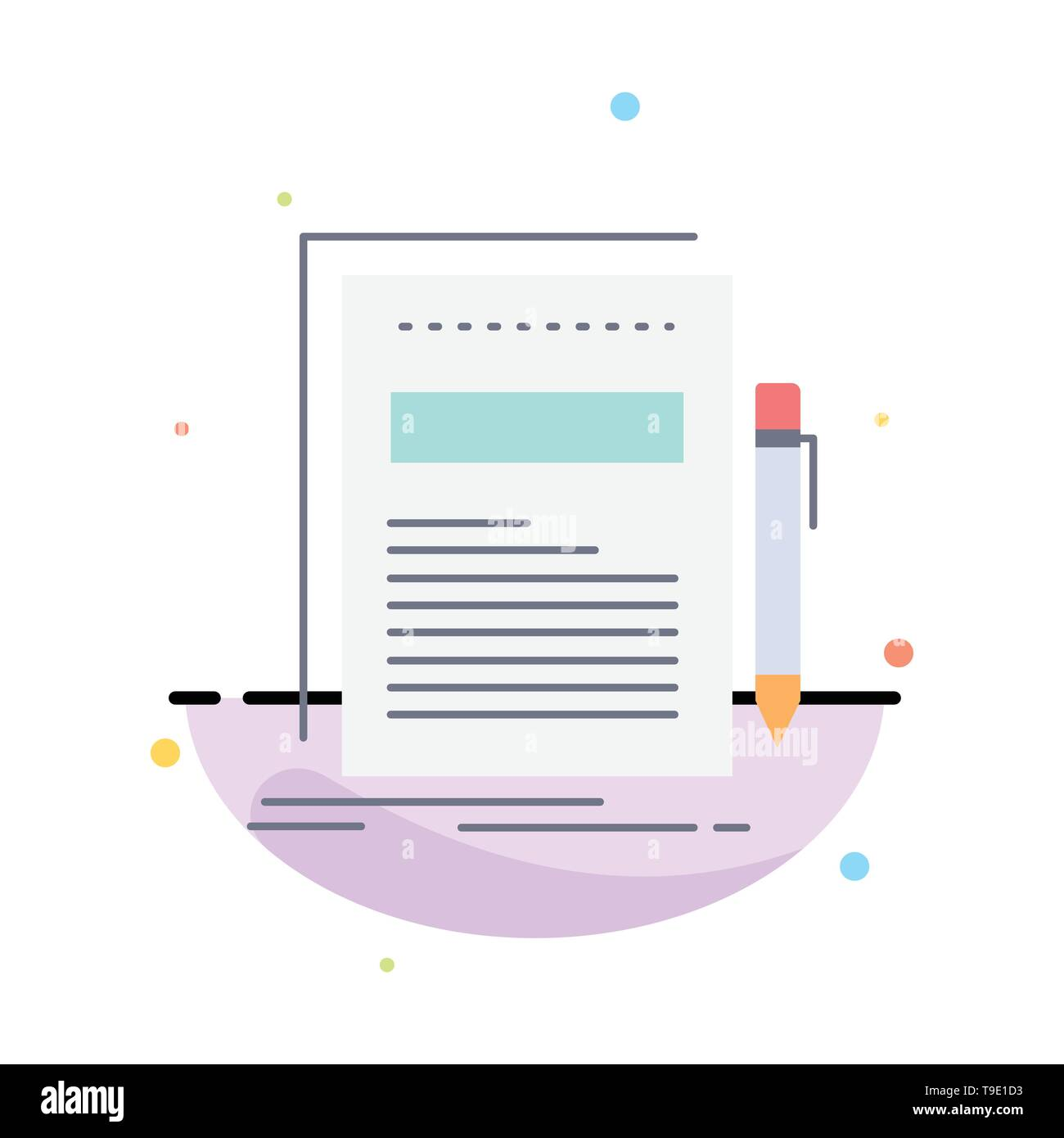 Business, document, file, paper, presentation Flat Color Icon Vector - Stock Image