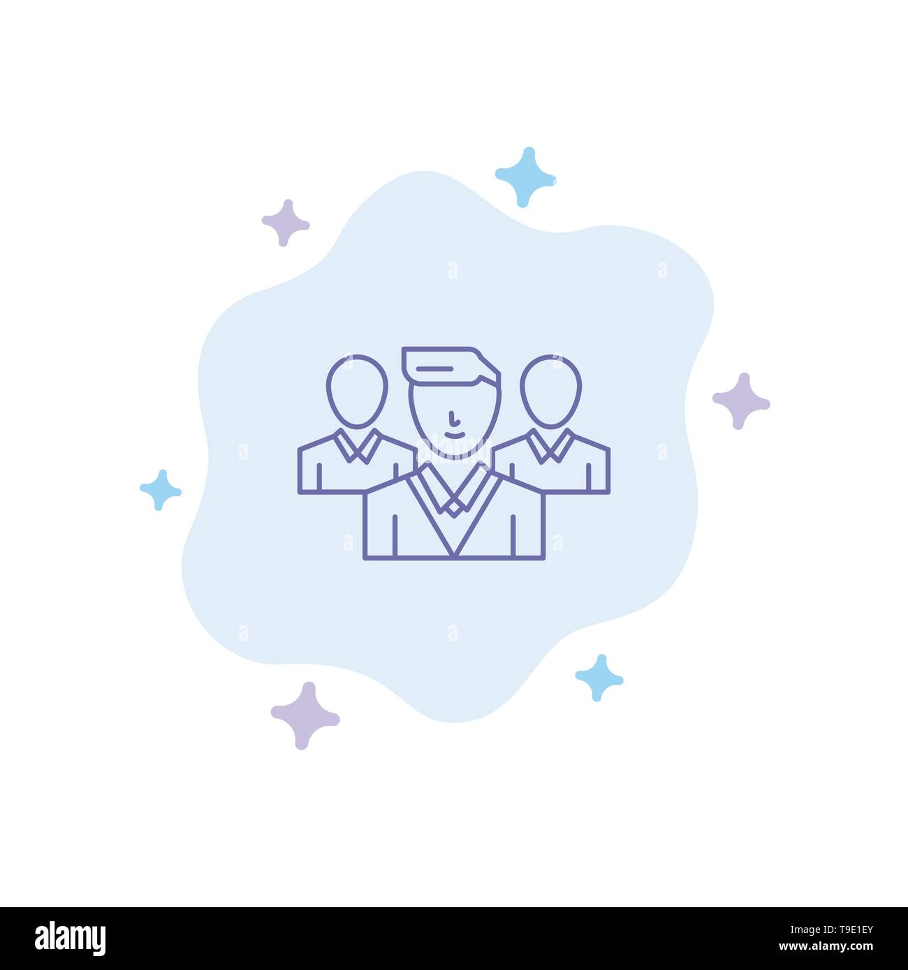 Staff, Security, Friend zone, Gang Blue Icon on Abstract Cloud Background - Stock Image