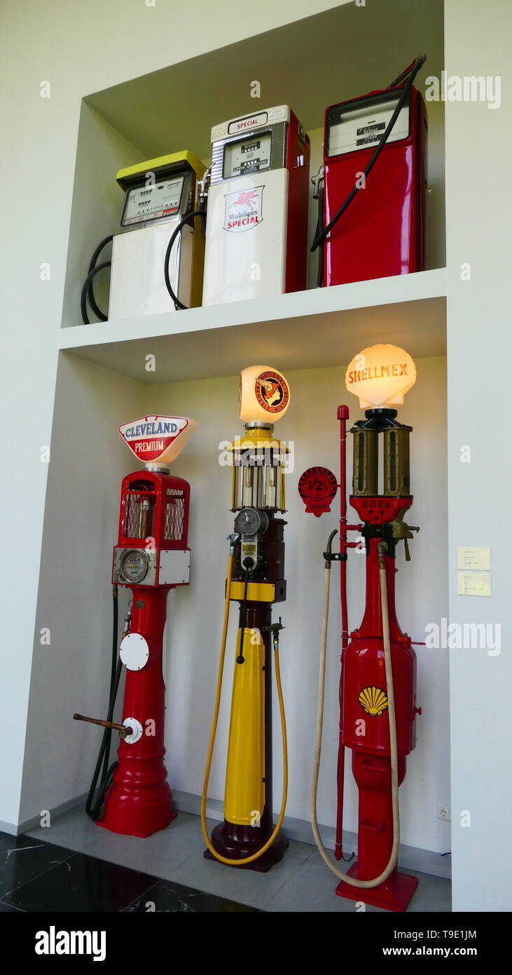THE HAGUE, THE NETHERLANDS - APRIL 21, 2019: A collection of historic and old petrol stations, inside of the famous Louwman Museum Stock Photo