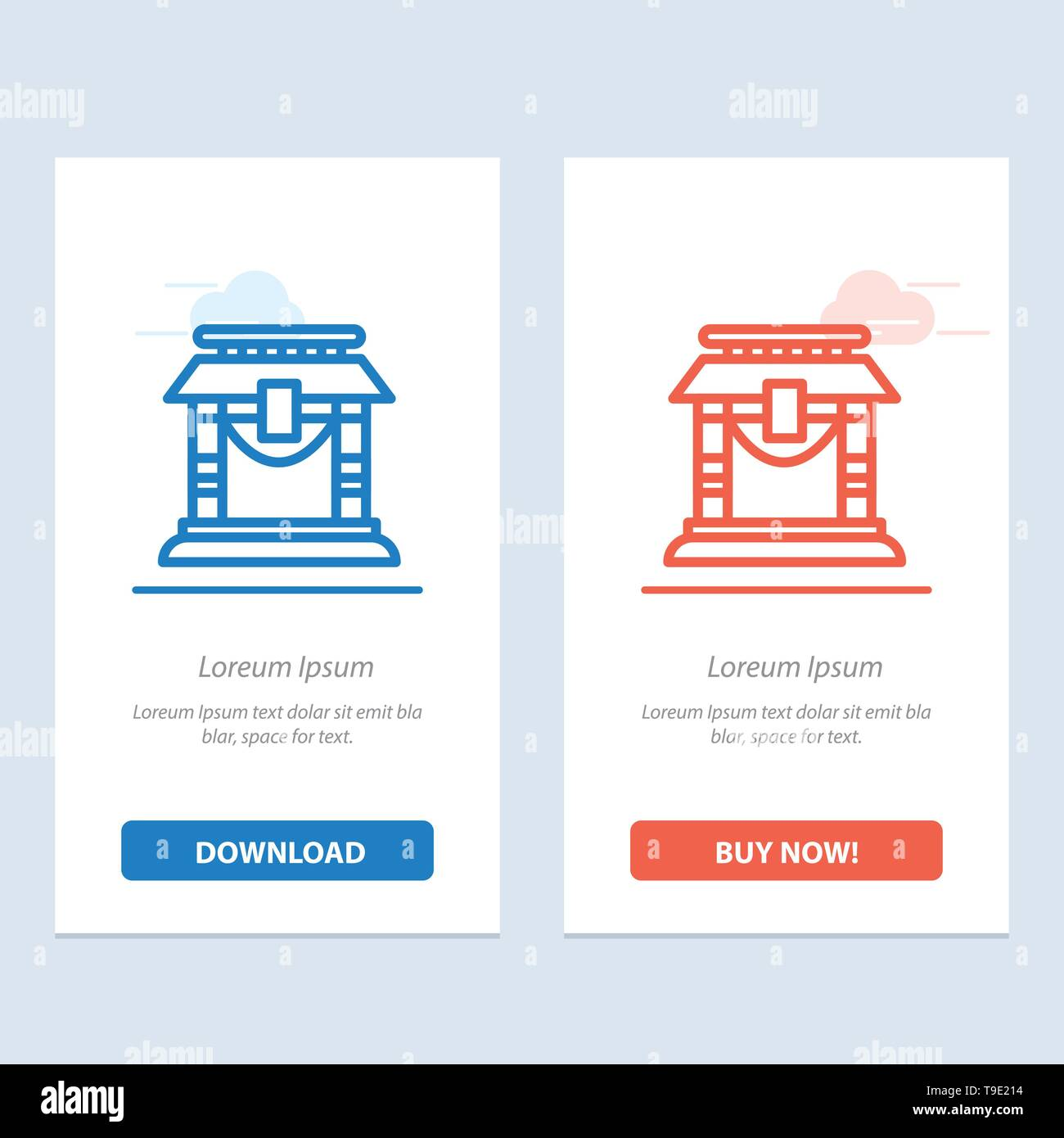 Door, Bridge, China, Chinese  Blue and Red Download and Buy Now web Widget Card Template - Stock Image