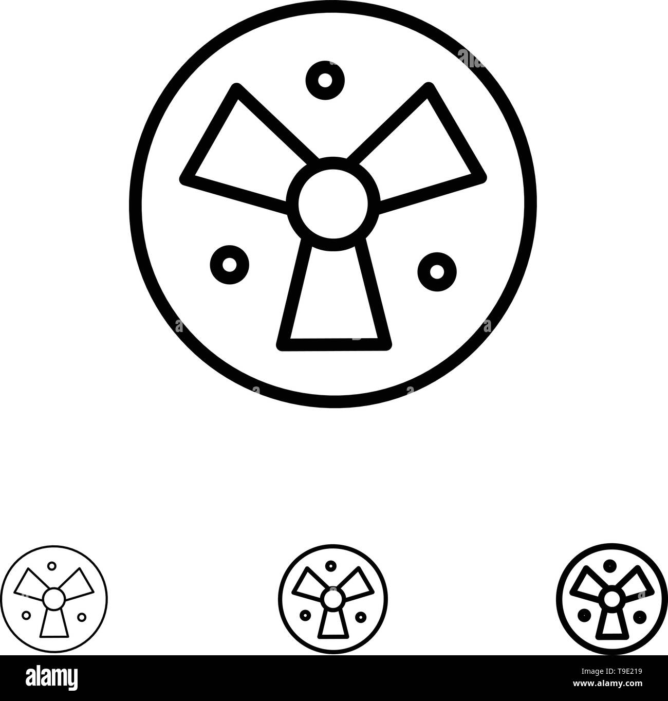 Radiation, Warning, Medical, Fan Bold and thin black line icon set - Stock Image