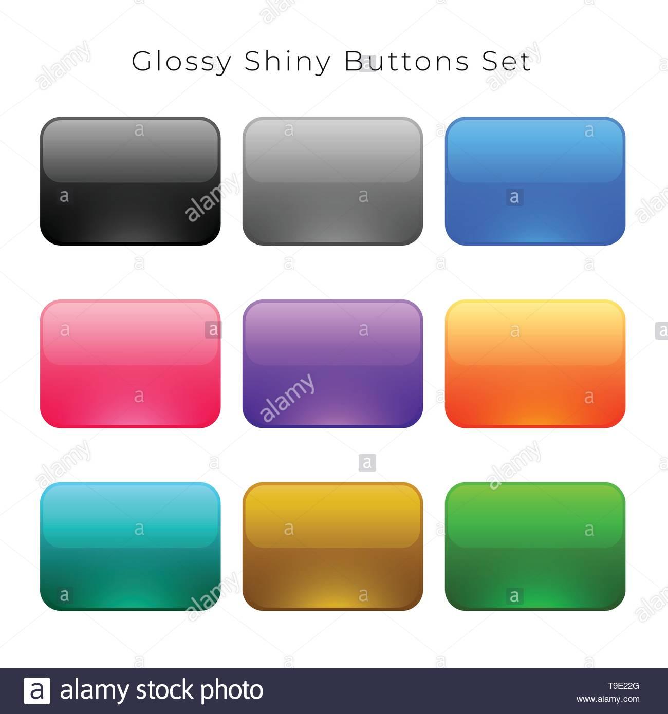 shiny glossy empty buttons set - Stock Image