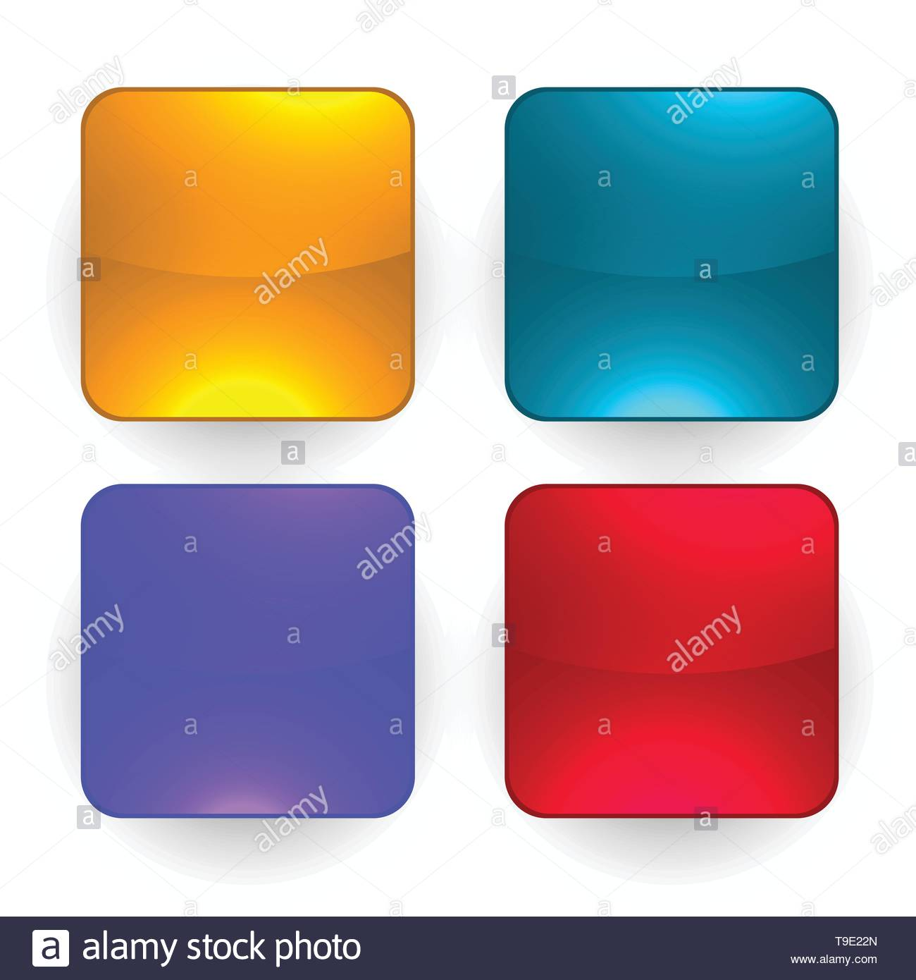 four glossy empty buttons set - Stock Image