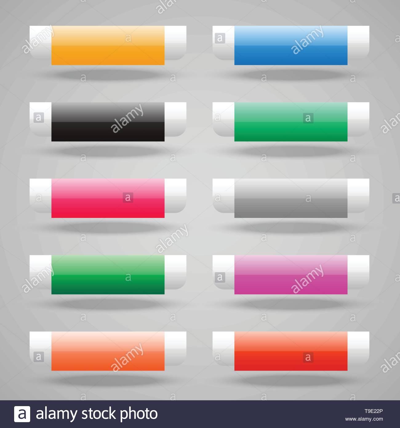 set of shiny web buttons - Stock Image