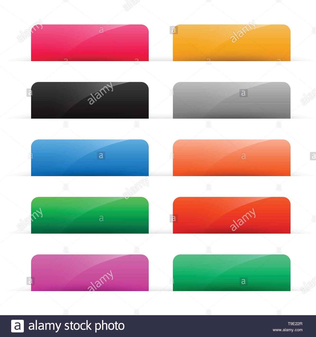 set of colorful shiny web buttons - Stock Image