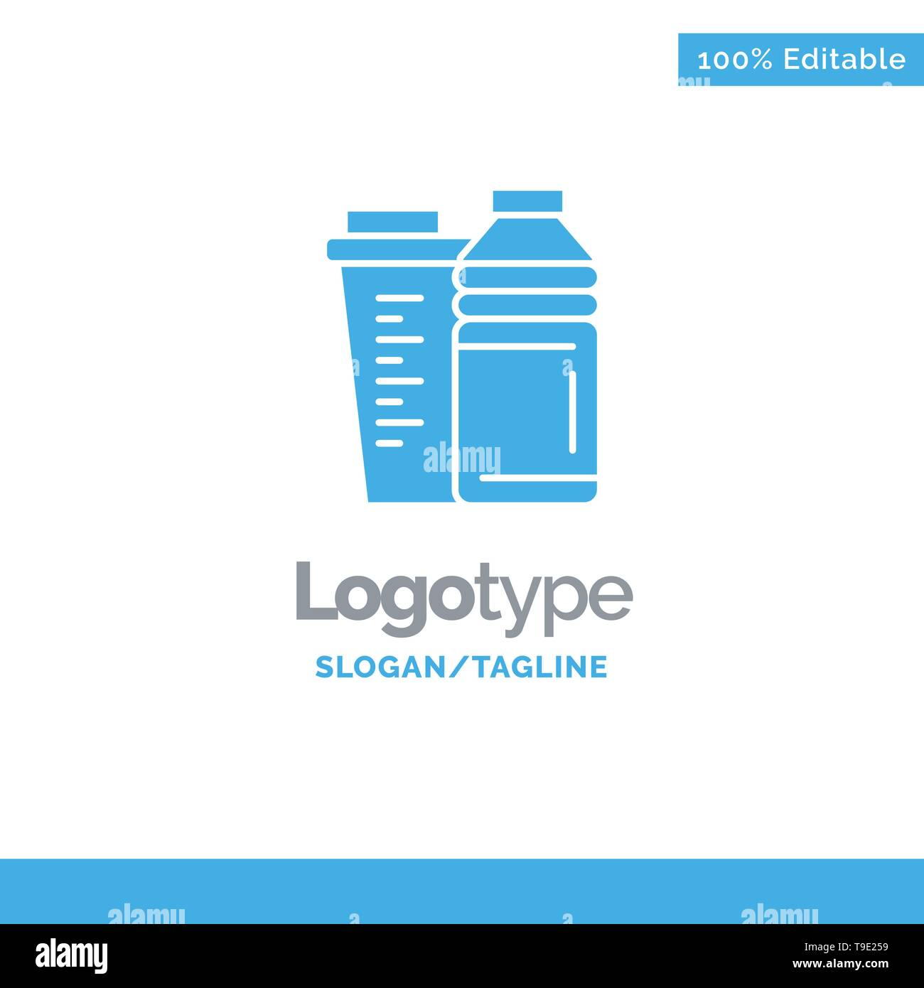 Bottle, Drink, Energy, Shaker, Sport Blue Solid Logo Template. Place for Tagline - Stock Image