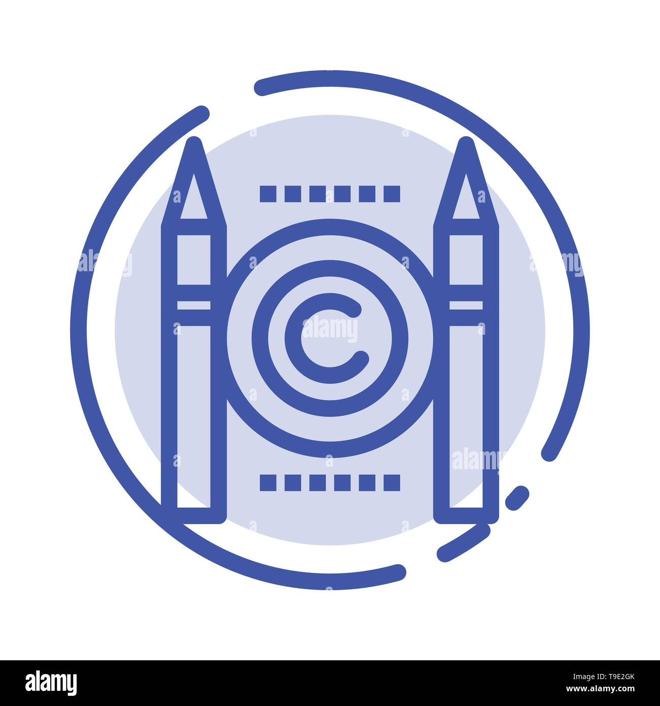 Business, Conflict, Copyright, Digital Blue Dotted Line Line Icon - Stock Image