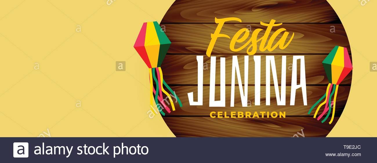 festa junina elegant wide banner design - Stock Image