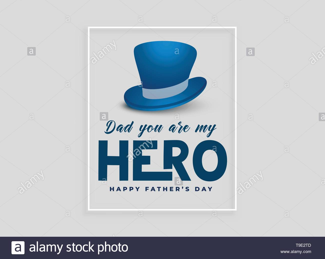 happy fathers day card design with hat - Stock Image