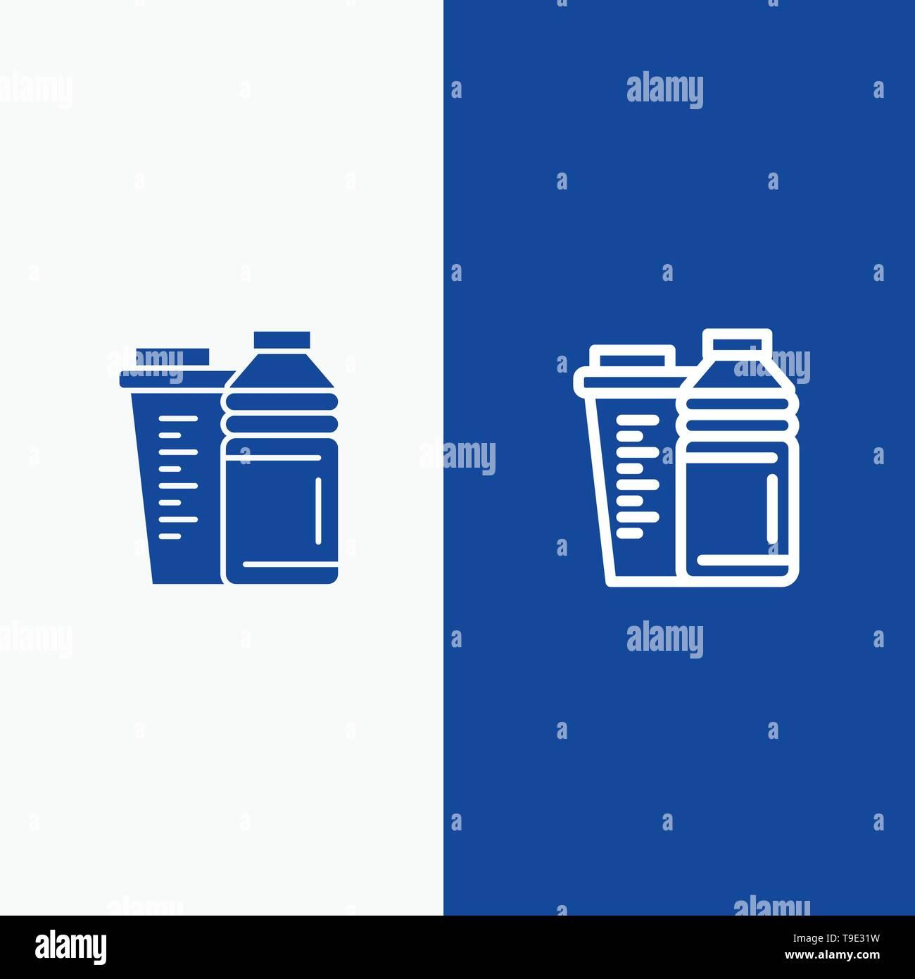 Bottle, Drink, Energy, Shaker, Sport Line and Glyph Solid icon Blue banner Line and Glyph Solid icon Blue banner - Stock Image