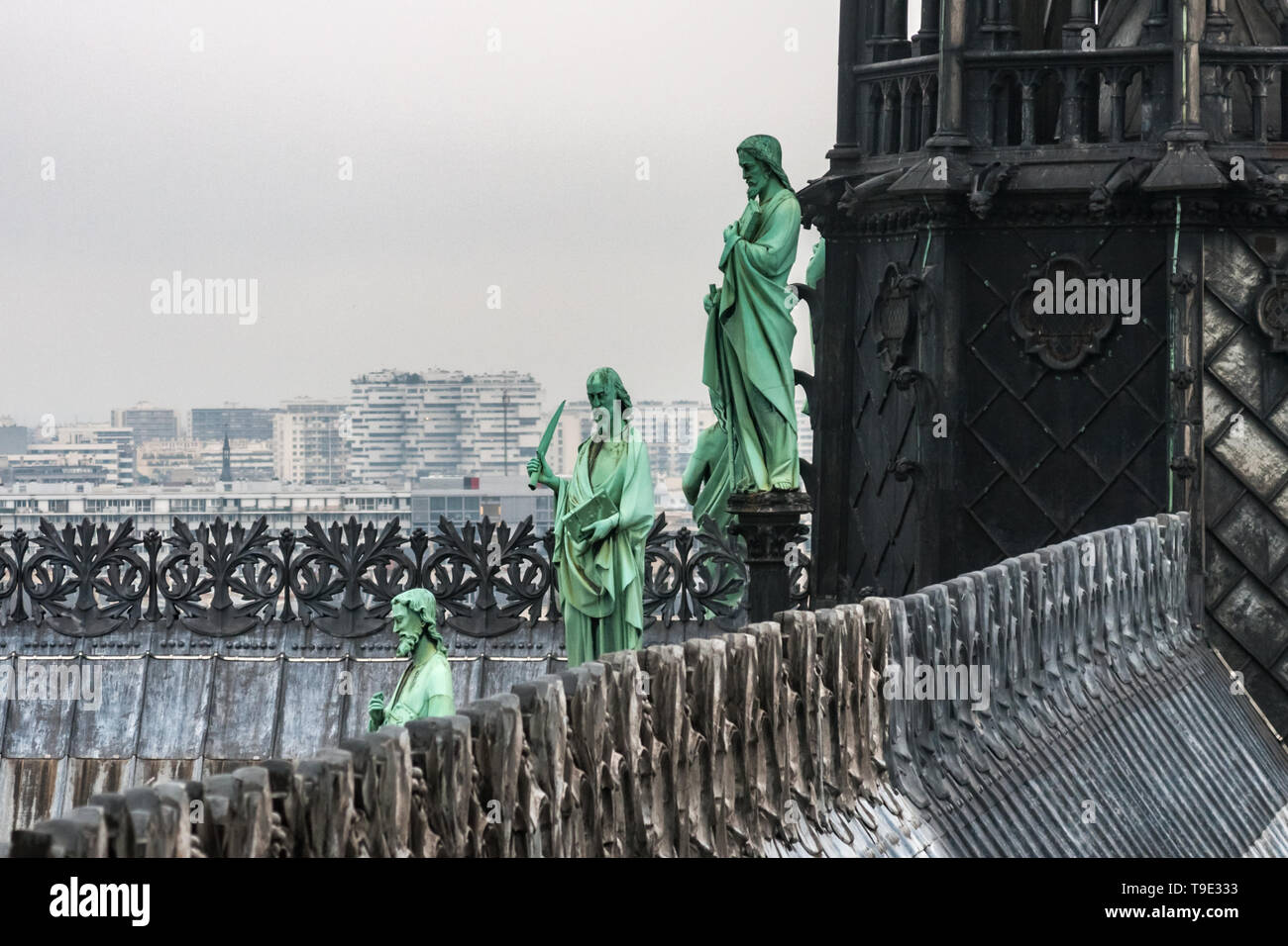 Lead statues around the spire of Notre Dame de Paris cathedral, Our Lady, international landmark, France. - Stock Image