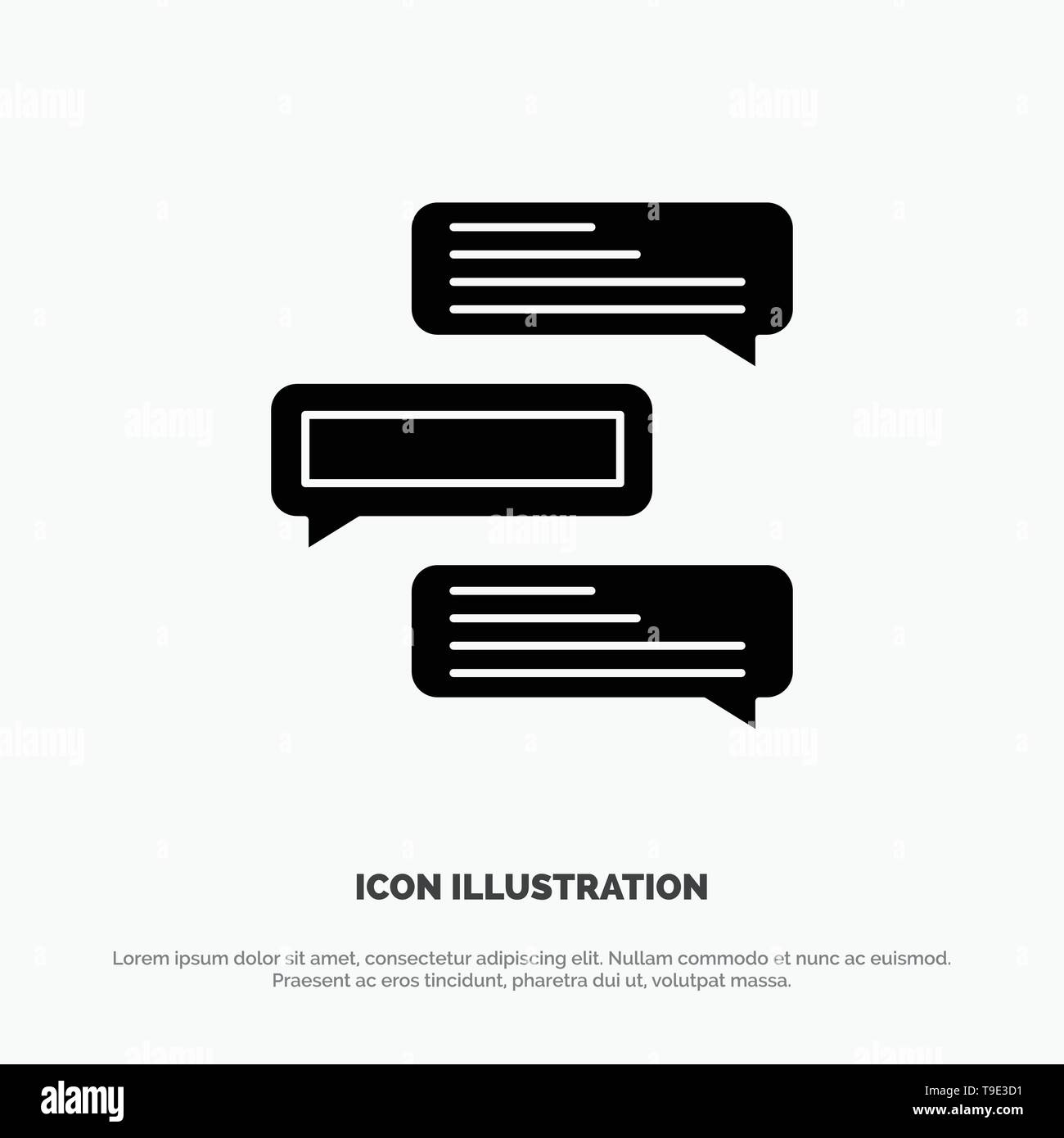 Chat, Bubbles, Comments, Conversations, Talks solid Glyph Icon vector - Stock Vector
