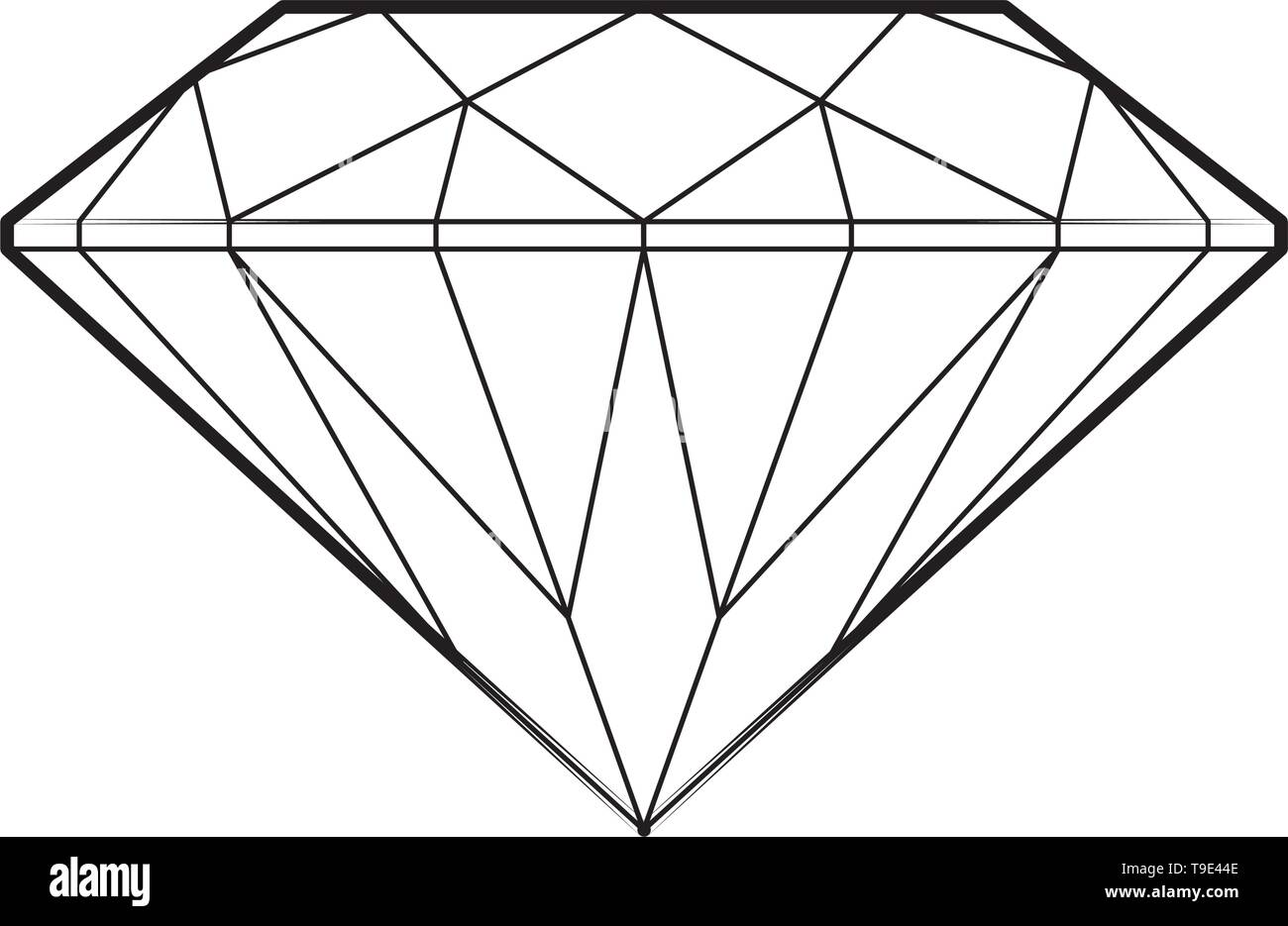 Precious diamond side view line drawing vector isolated. - Stock Image