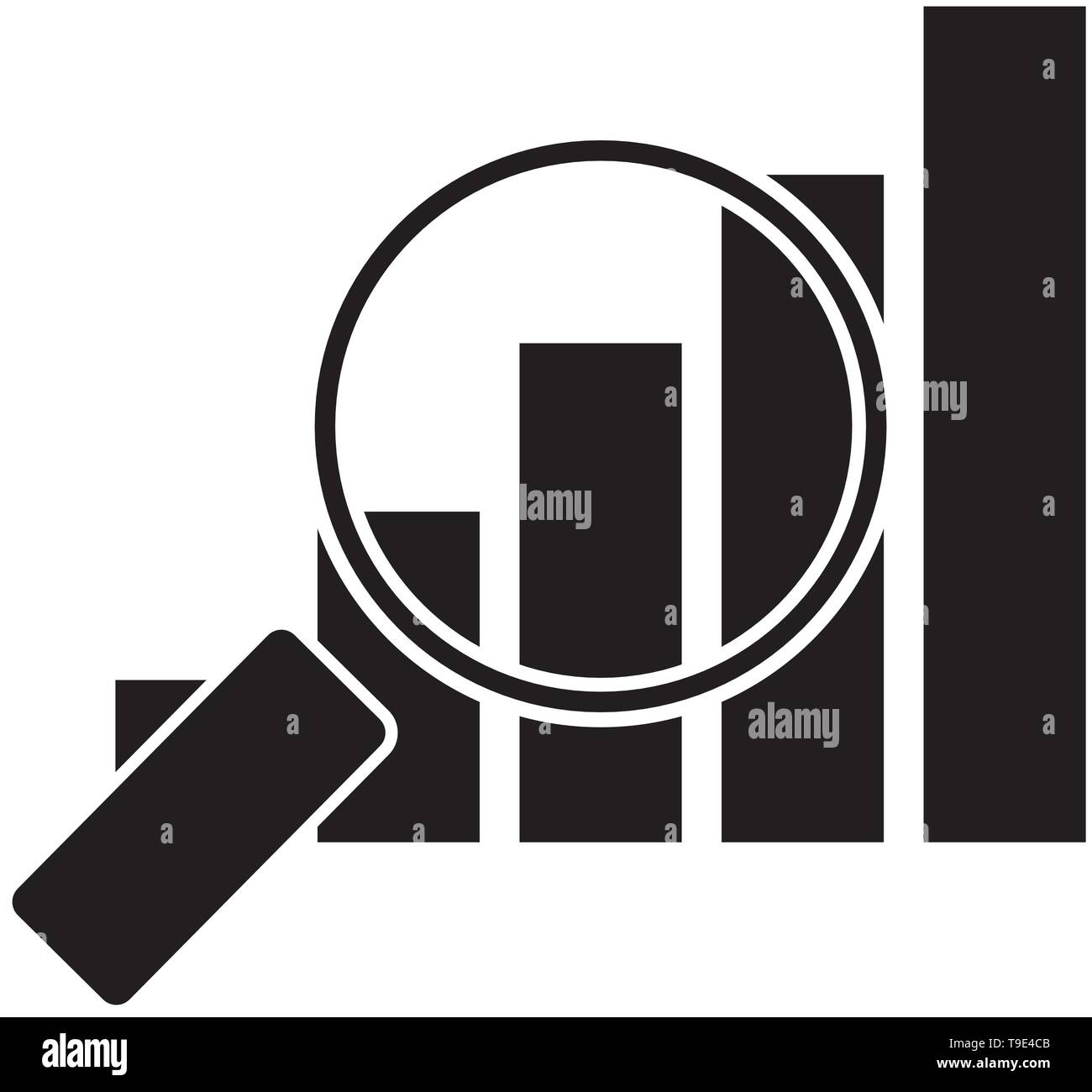 Rising graph under magnifying glass vector isolated. - Stock Vector