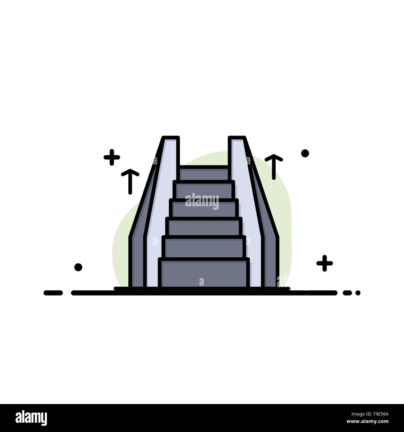 Stair, Elevator, Electric, Ladder Business Flat Line Filled Icon