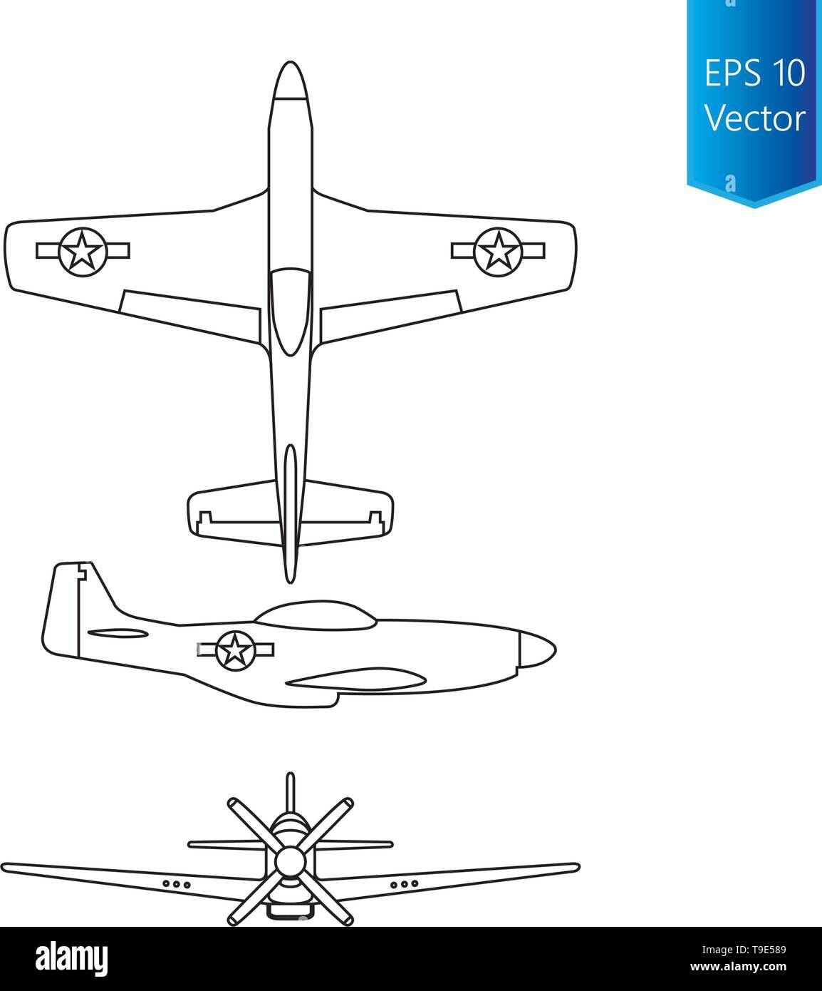 North american world war 2 fighter airplane vector - Stock Vector