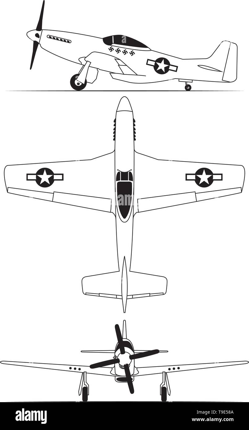 north american World war 2 fighter airplane blue print - Stock Vector