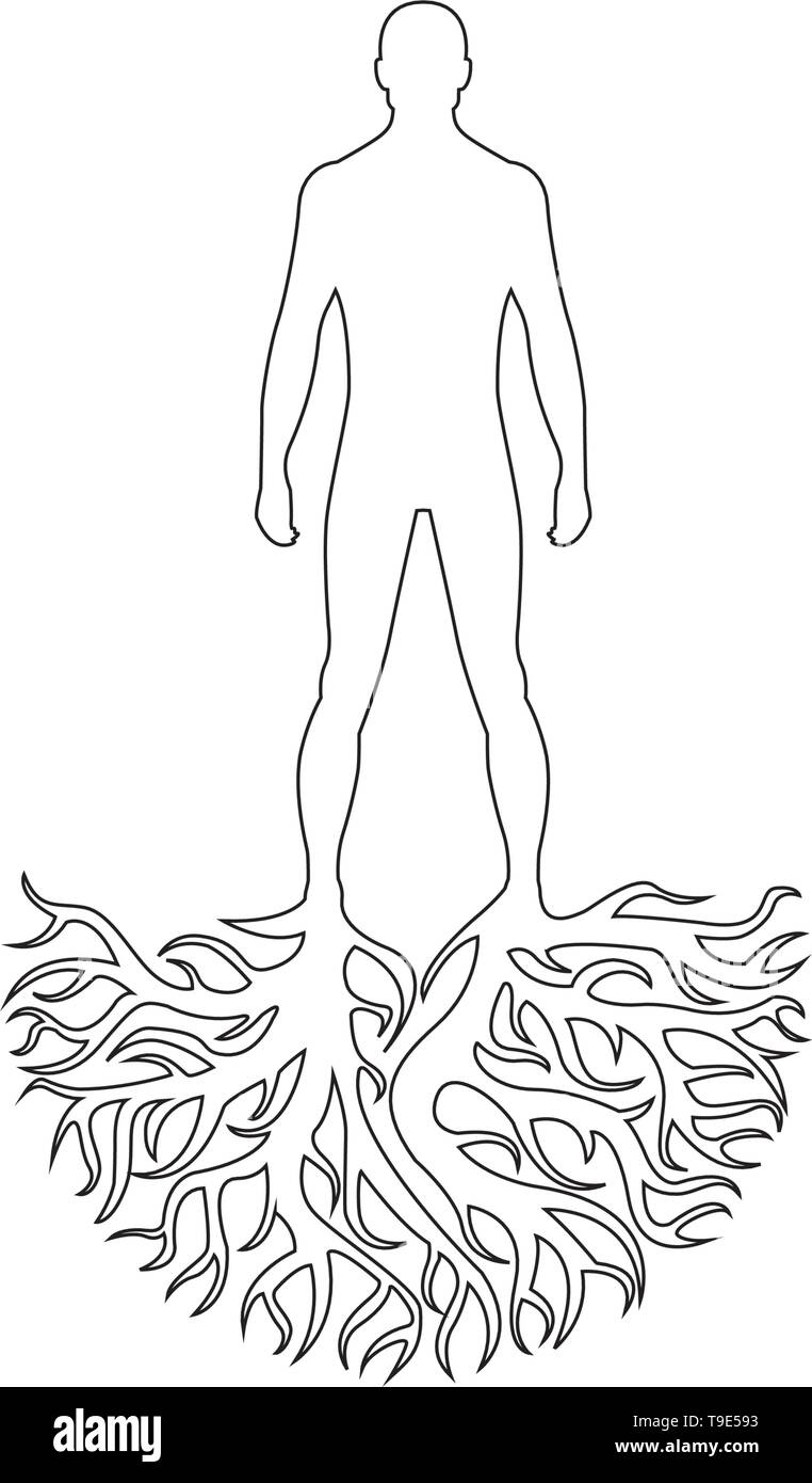 Person silhouette roots personality vector isolated on white background - Stock Image