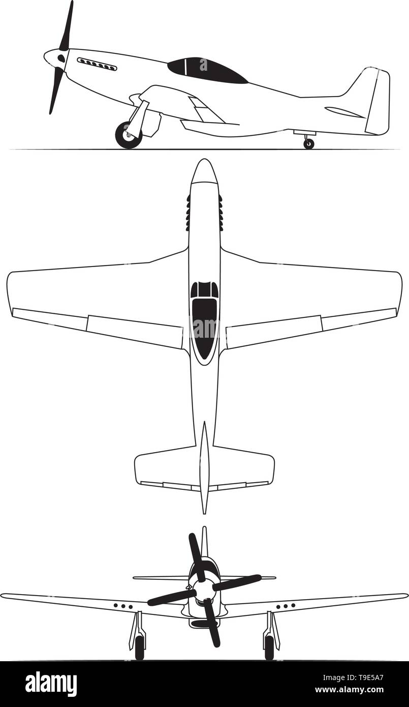 Northe american World war 2 fighter airplane isolated on white background - Stock Vector