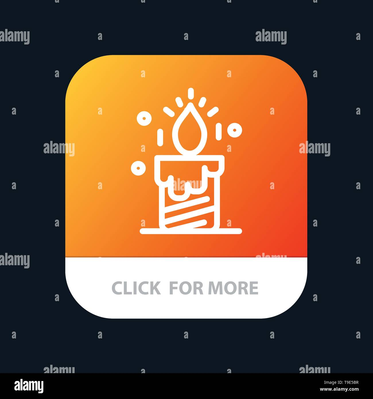 Candle, Light, Wedding, Love Mobile App Button. Android and IOS Line Version - Stock Image