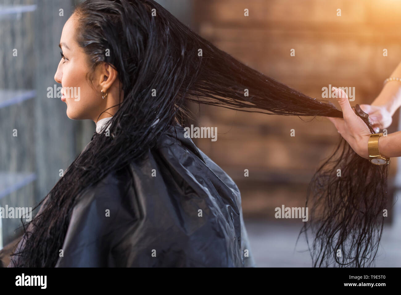 Spa treatment for long hair. Care, keratin recovery, hairdresser - Stock Image
