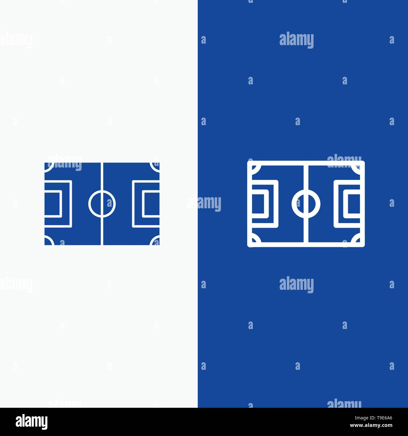 Field, Football, Game, Pitch, Soccer Line and Glyph Solid icon Blue banner Line and Glyph Solid icon Blue banner - Stock Image