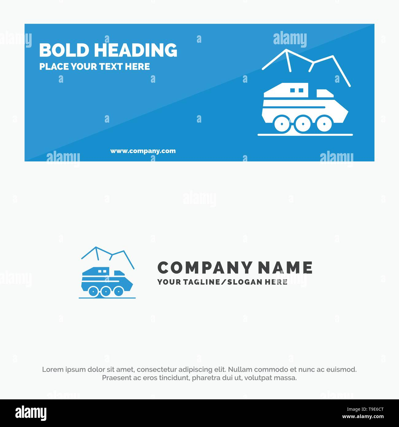 Exploration, Planet, Rover, Surface, Transport SOlid Icon Website Banner and Business Logo Template - Stock Image