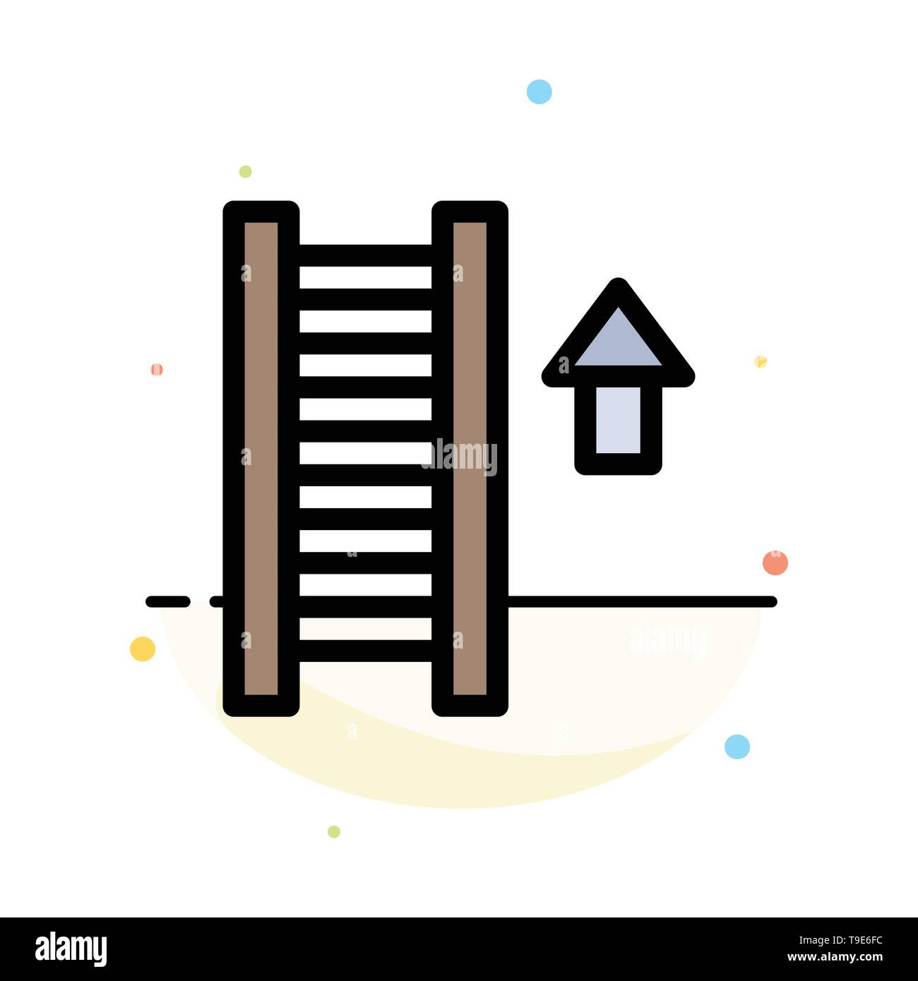 Ladder, Stair, Staircase, Arrow Abstract Flat Color Icon Template