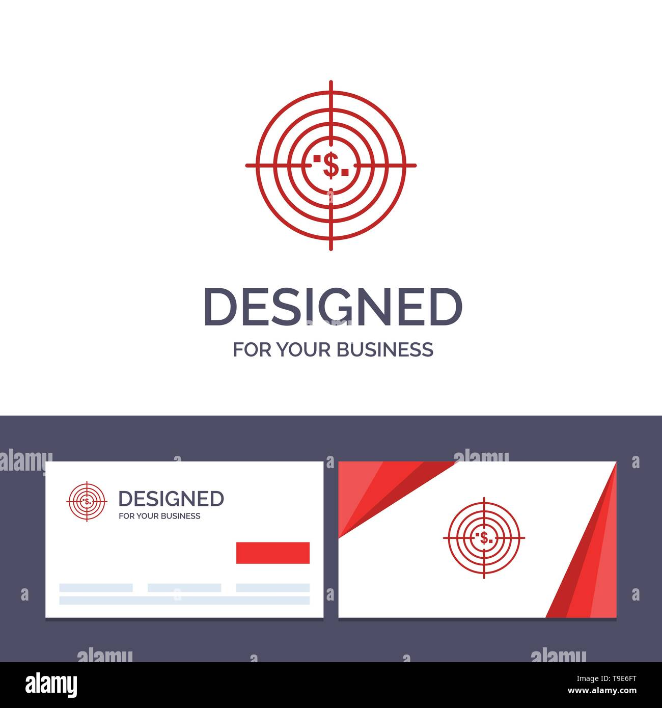 Creative Business Card and Logo template Target, Aim, Business, Cash, Financial, Funds, Hunting, Money Vector Illustration - Stock Image