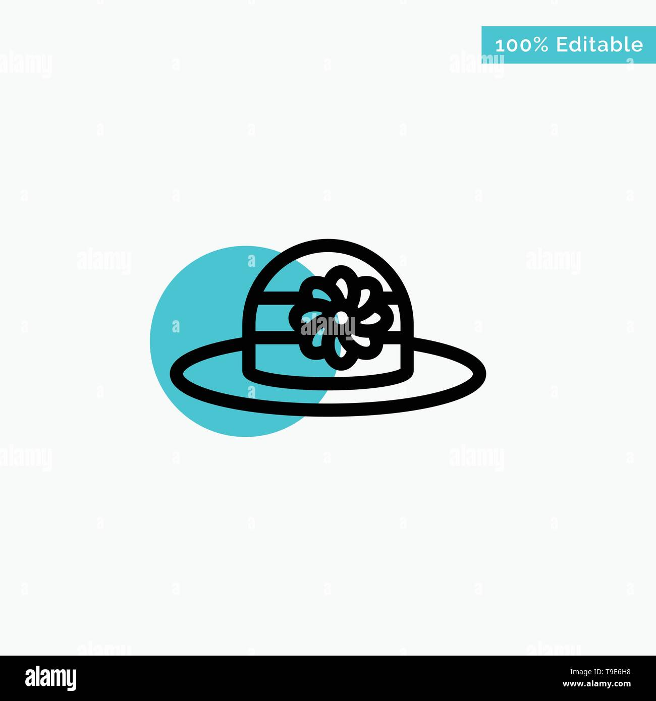 Beach, Hat, Cap turquoise highlight circle point Vector icon - Stock Image