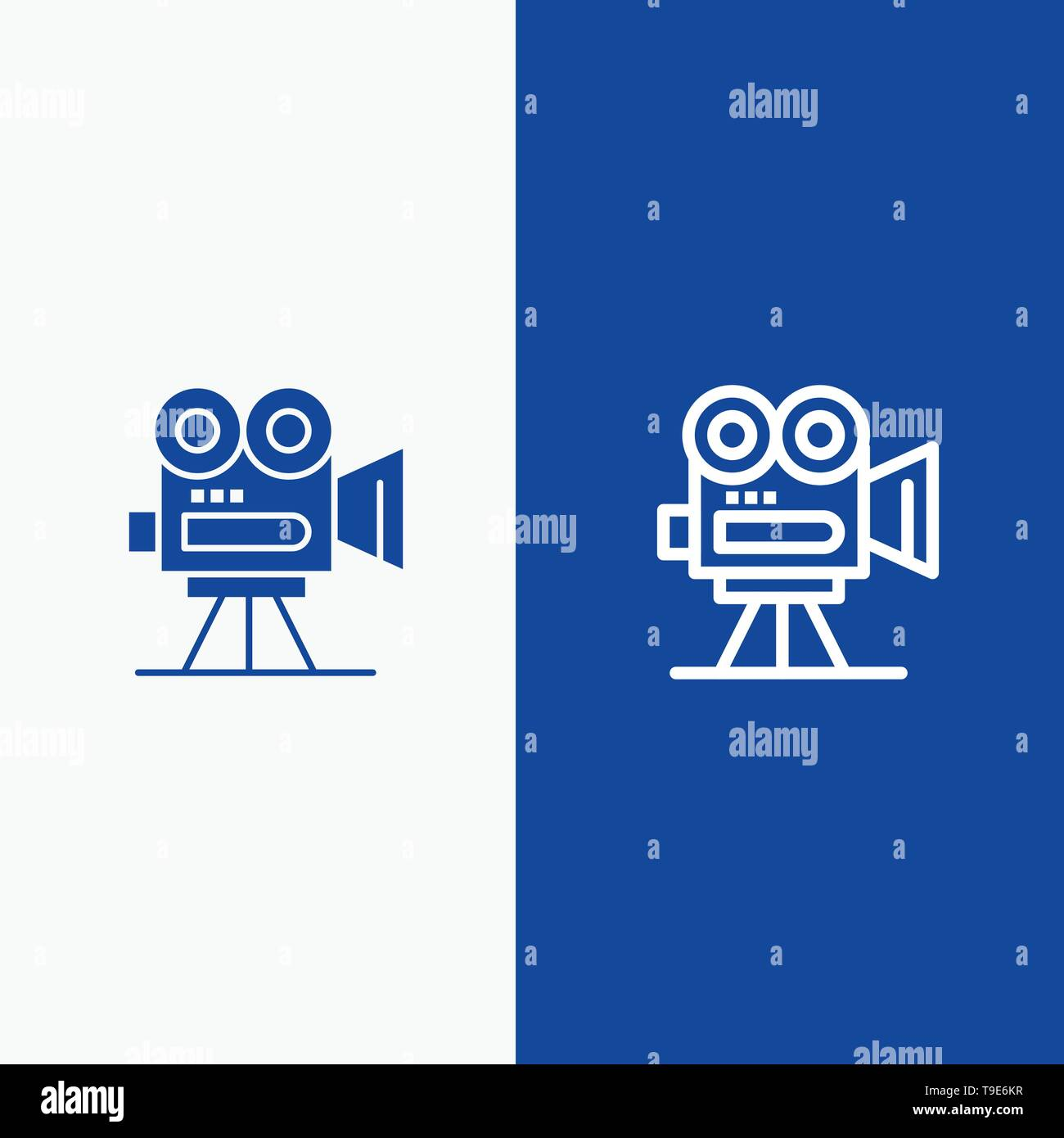Camera, Capture, Film, Movie, Professional Line and Glyph Solid icon Blue banner Line and Glyph Solid icon Blue banner - Stock Vector