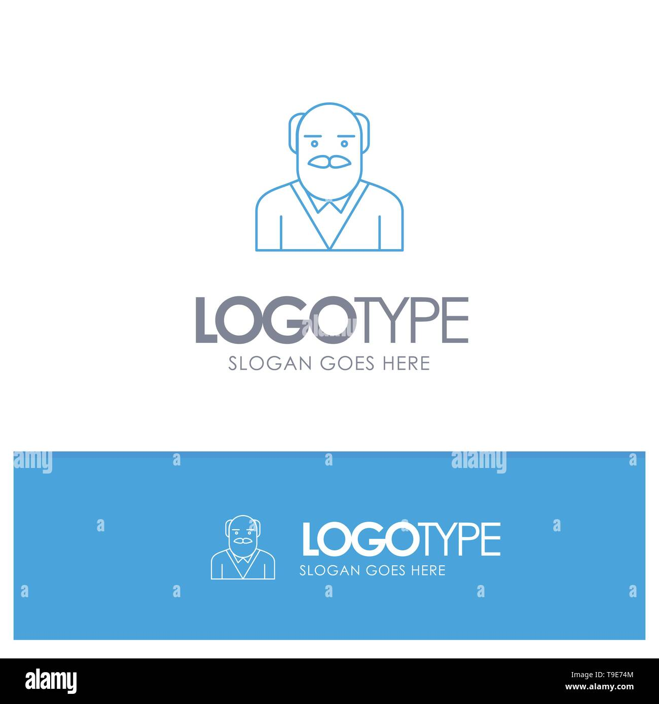 Grandpa, Father, Old Man, Uncle Blue outLine Logo with place for tagline - Stock Vector
