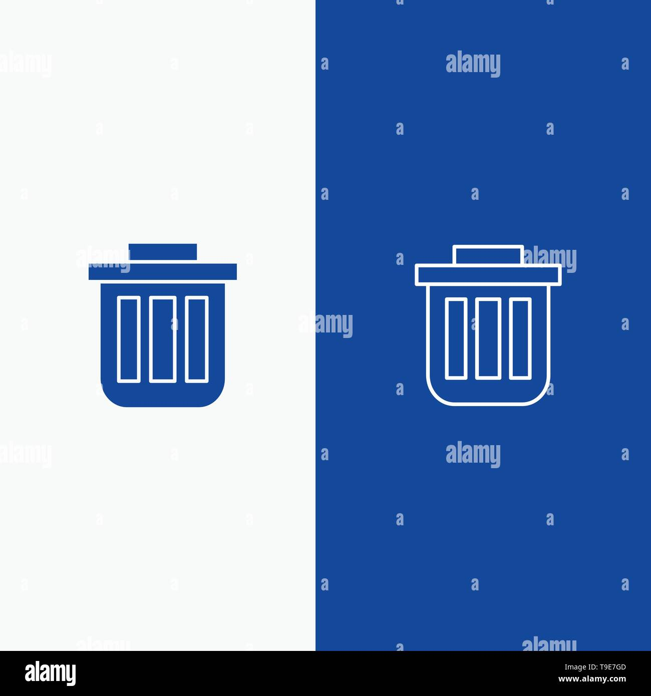 Trash, Basket, Bin, Can, Container, Dustbin, Office Line and Glyph Solid icon Blue banner Line and Glyph Solid icon Blue banner - Stock Image