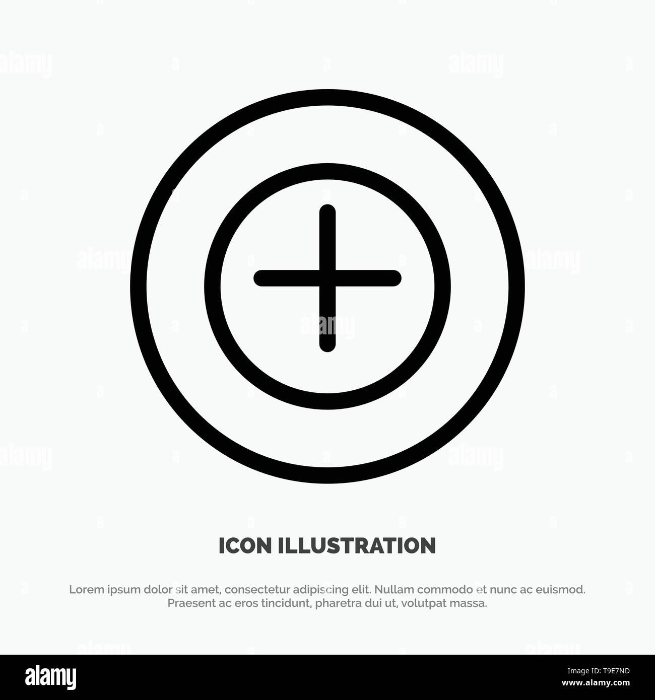 Add, More, Plus Line Icon Vector - Stock Vector