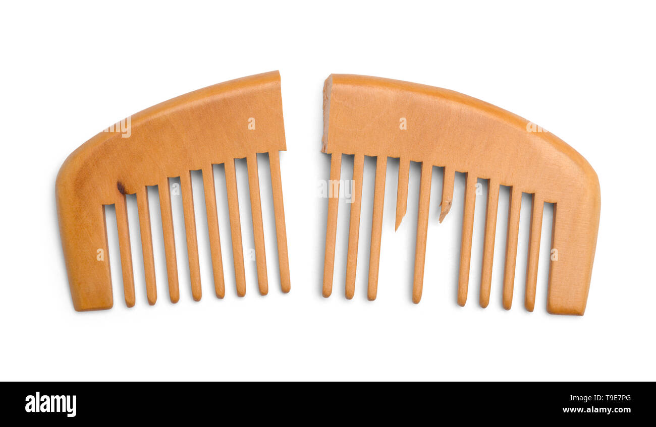 Broken Wood Comb Isolated on White Background. - Stock Image