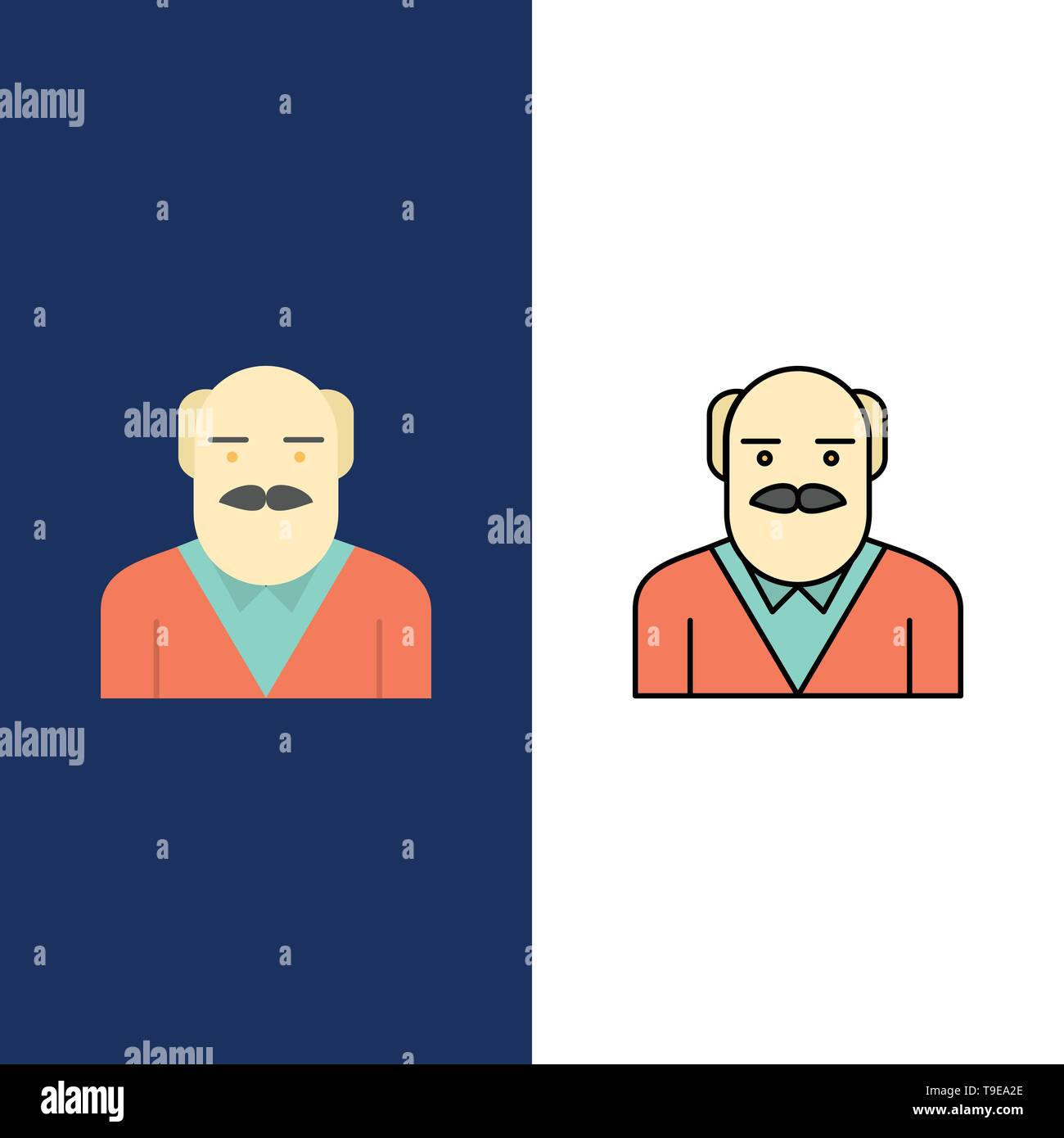 Grandpa, Father, Old Man, Uncle  Icons. Flat and Line Filled Icon Set Vector Blue Background - Stock Vector