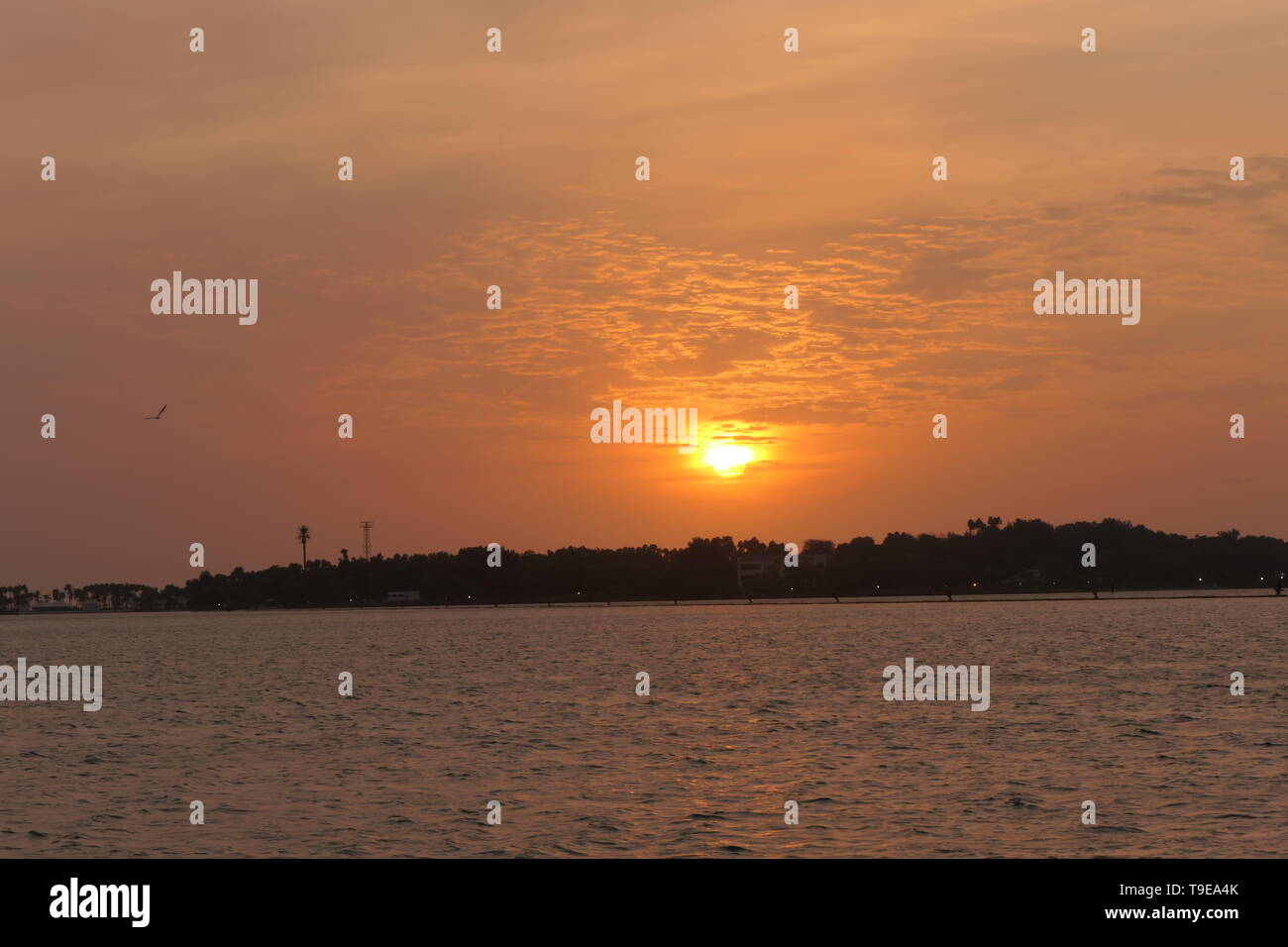 Natural and beautiful sunset with clear clouds in the background in Jeddah, Saudi Arabia - Stock Image