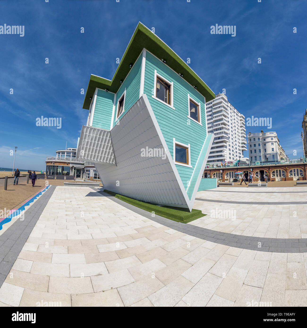 Upside Down House,Brighton,Seafront,Sussex Brought to Brighton by 25-year-old Tom Dirse. - Stock Image